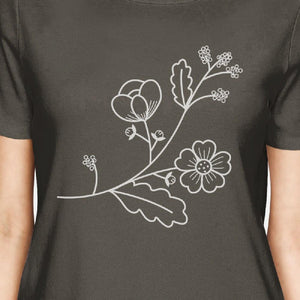 Flower Women's Dark Gray Short Sleeve Tee Round Neck Cute Design