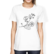 Flower Women's White Short Sleeve Graphic T Shirt For Flower Lovers
