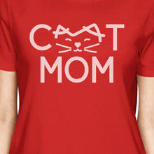 Cat Mom Womens Red Cotton T Shirt Cute Cat Paws Gift For Cat Owners