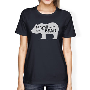 Mama Bear Women's Navy Cotton Tee Cute Graphic Gifts For New Moms