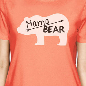Mama Bear Women's Peach Cute Graphic T-Shirt Ideas For Mothers Day