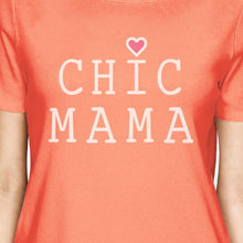 Chic Mama Women's Peach Cotton T-Shirt Unique Gifts For New Moms