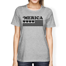 Cute Heart American Flag T-Shirt For Women Gift Idea For Army Wives