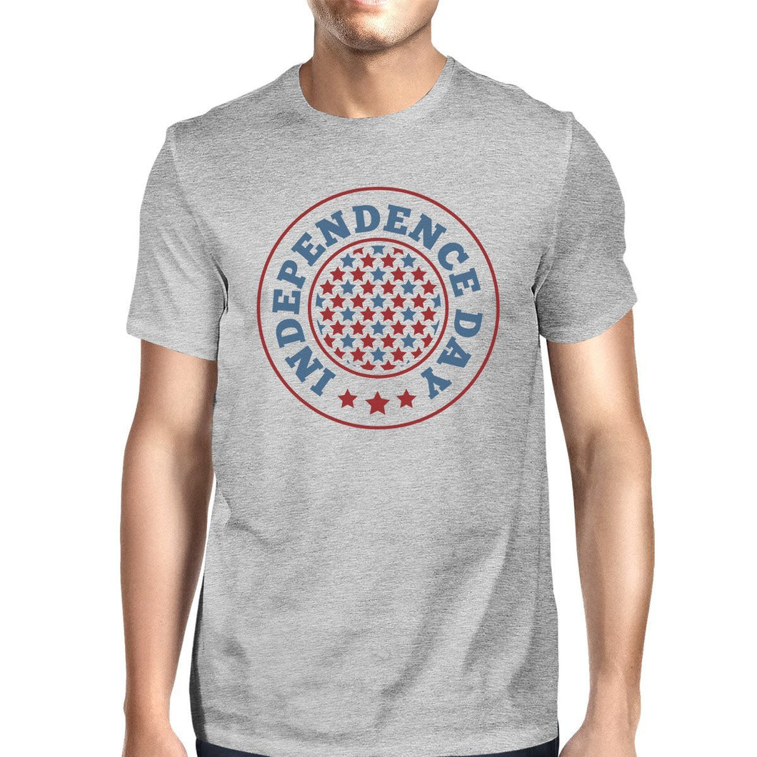 Independence Day American Flag Shirt Mens Grey 4th Of July T-Shirt
