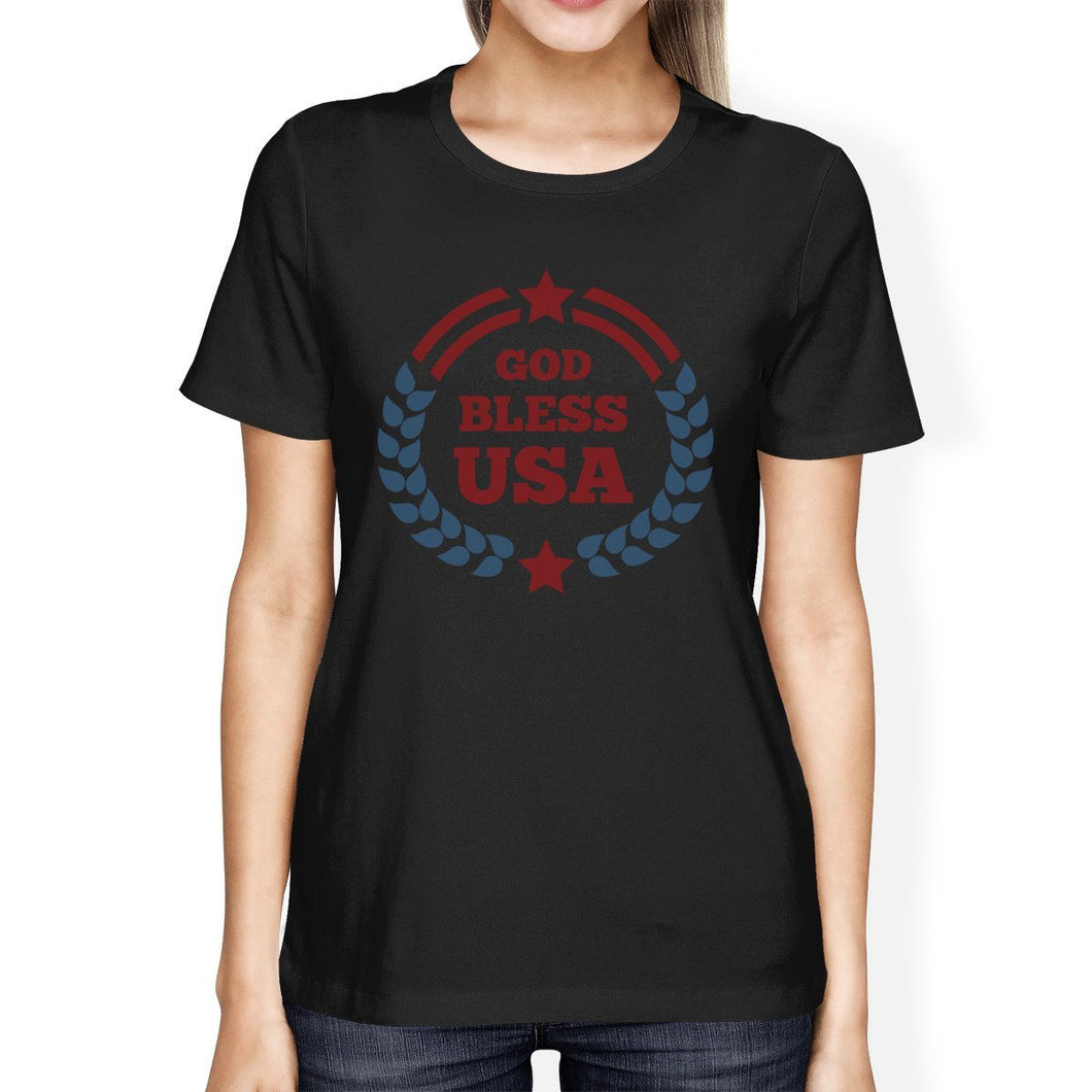 God Bless USA American Flag Shirt Womens Black 4th Of July T Shirt