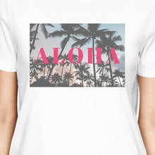 California Sunset Aloha Womens White Cotton Summer Shirt Round Neck
