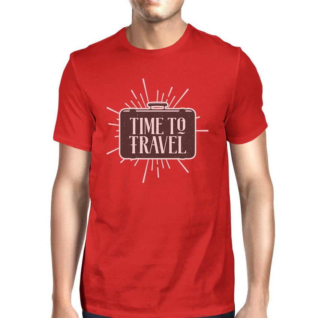 Time To Travel Mens Red Shirt