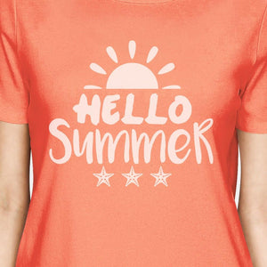 Hello Summer Sun Womens Peach Shirt