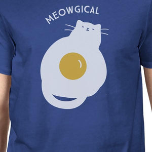 Meowgical Cat And Fried Egg Mens Royal Blue Shirt