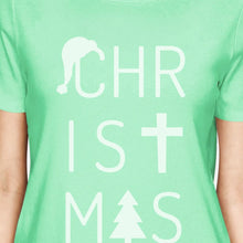 Christmas Letters Womens Mint Shirt