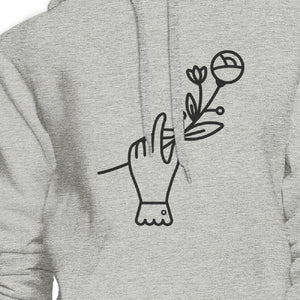Hand Holding Flower Grey Unisex Cute Graphic Design Crewneck Hoodie