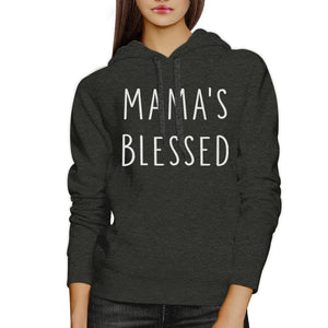 Mama's Blessed Dark Gray Unisex Hoodie Simple Design Fleece For Her