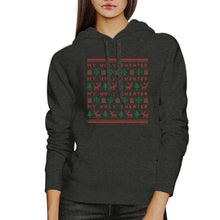 My Ugly Sweater Pattern Dark Grey Hoodie