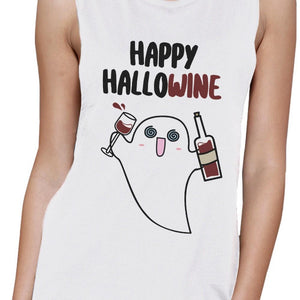 Happy Hallowine Ghost Wine Womens White Muscle Top