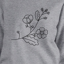 Flower Unisex Sweatshirts Flower Printed Round Neck Pullover Fleece