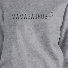 Mamasaurus Gray Round Neck Simple Graphic Sweatshirt Mom of Boys