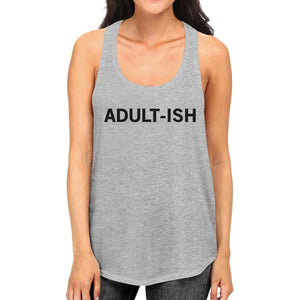 Adult-ish Womens Heather Grey Sleeveless Trendy Typography Tank Top