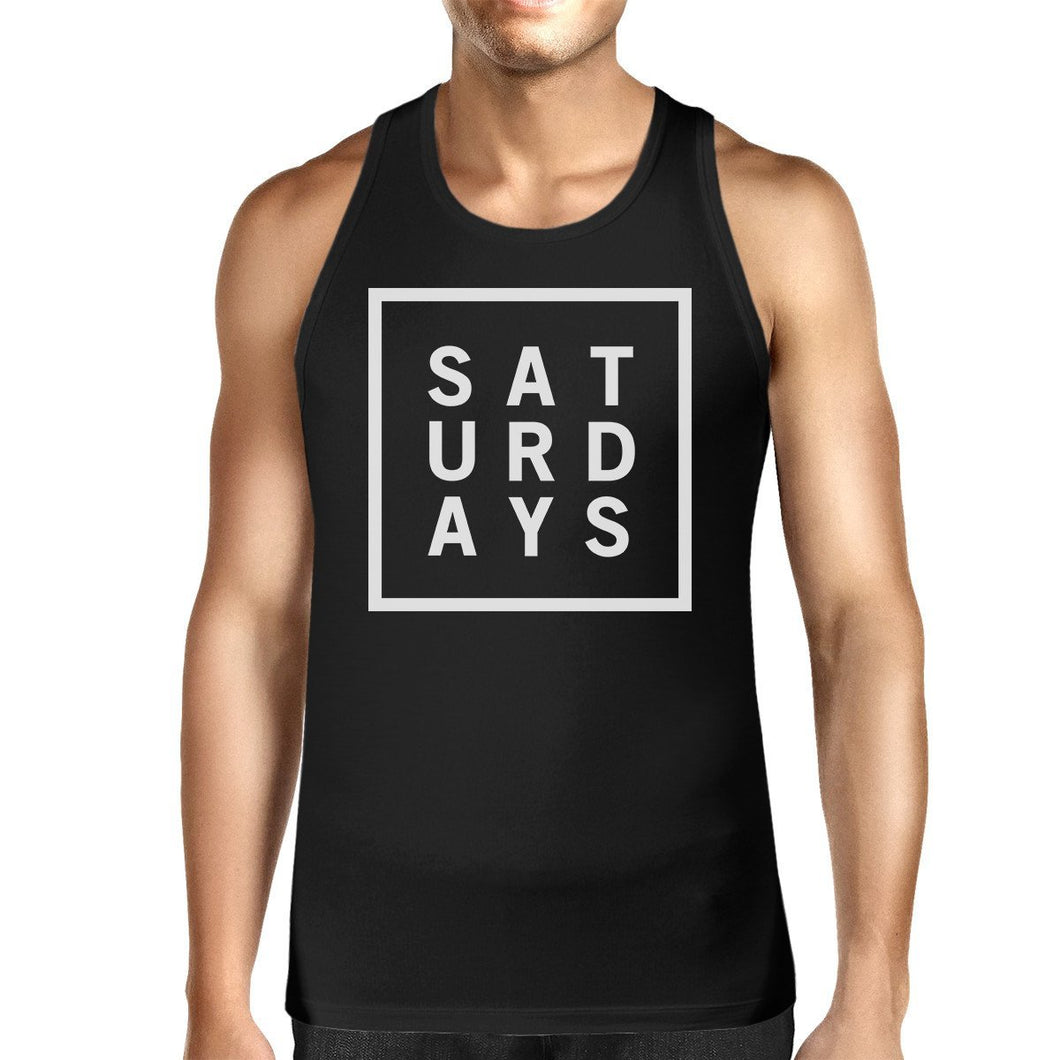 Saturdays Mens Sleeveless Black Tank Top Typography Trendy Tops