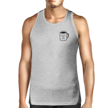 Coffee For Life Mens Grey  Sleeveless Tank Top For Coffee Lover