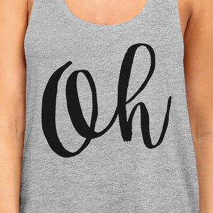 Oh Womens Gray Sleeveless Tank Top Calligraphy Gym Workout Top