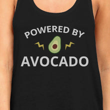 Powered By Avocado Womens Black Cute Graphic Tank Top Unique Design