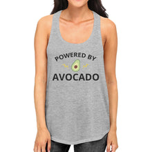 Powered By Avocado Womens Grey Cotton Tanks Round Neck Cute Design