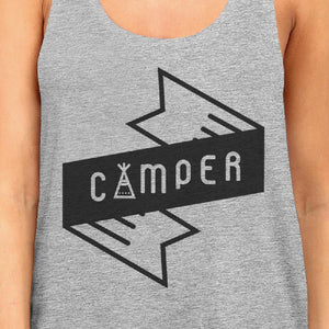 Camper Womens Grey Cotton Tank Top Summer Camping Must Item For Him