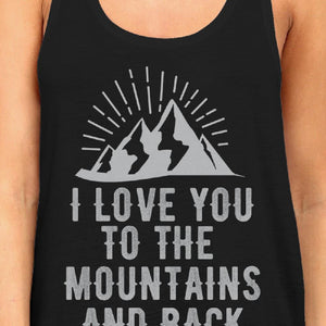 Mountain And Back Women's Black Cotton Tanks Cute Gifts For Couples