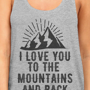 Mountain And Back Women Gray Sleeveless Tee Great Summer Couple Top