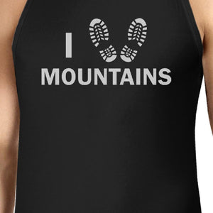 I Heart Mountains Men's Black Cotton Tanks For Mountain Lovers