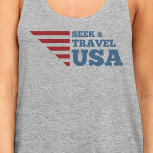 Seek & Travel USA Womens Gray Sleeveless Tee Shirt Round Neck Tank