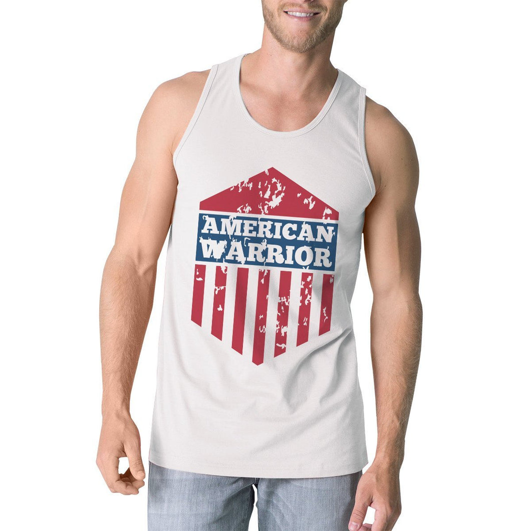 American Warrior White Crewneck Graphic Tanks For Men Gift For Him