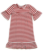 LITTLE LATES DRESS Wine & White Stripe