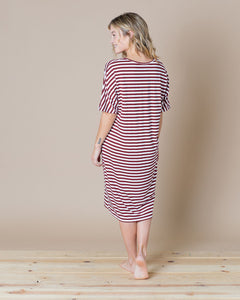 ALWAYS DRESS Wine & White Stripe