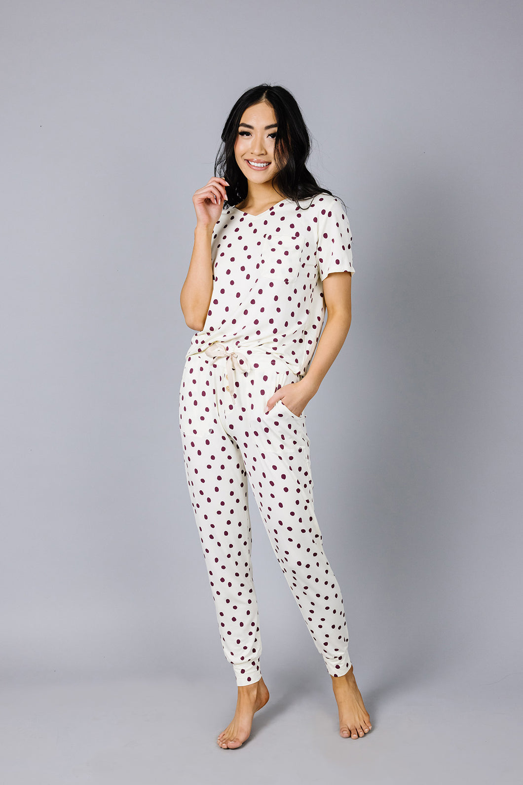 JAM PANTS SET Cranberry Dots