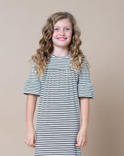 LITTLE LATES DRESS Black & White Stripe