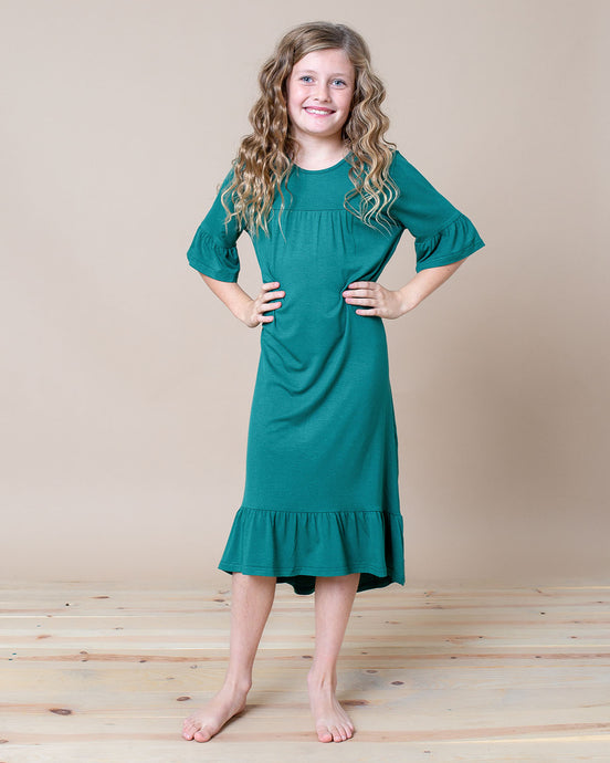 LITTLE LATES DRESS Emerald