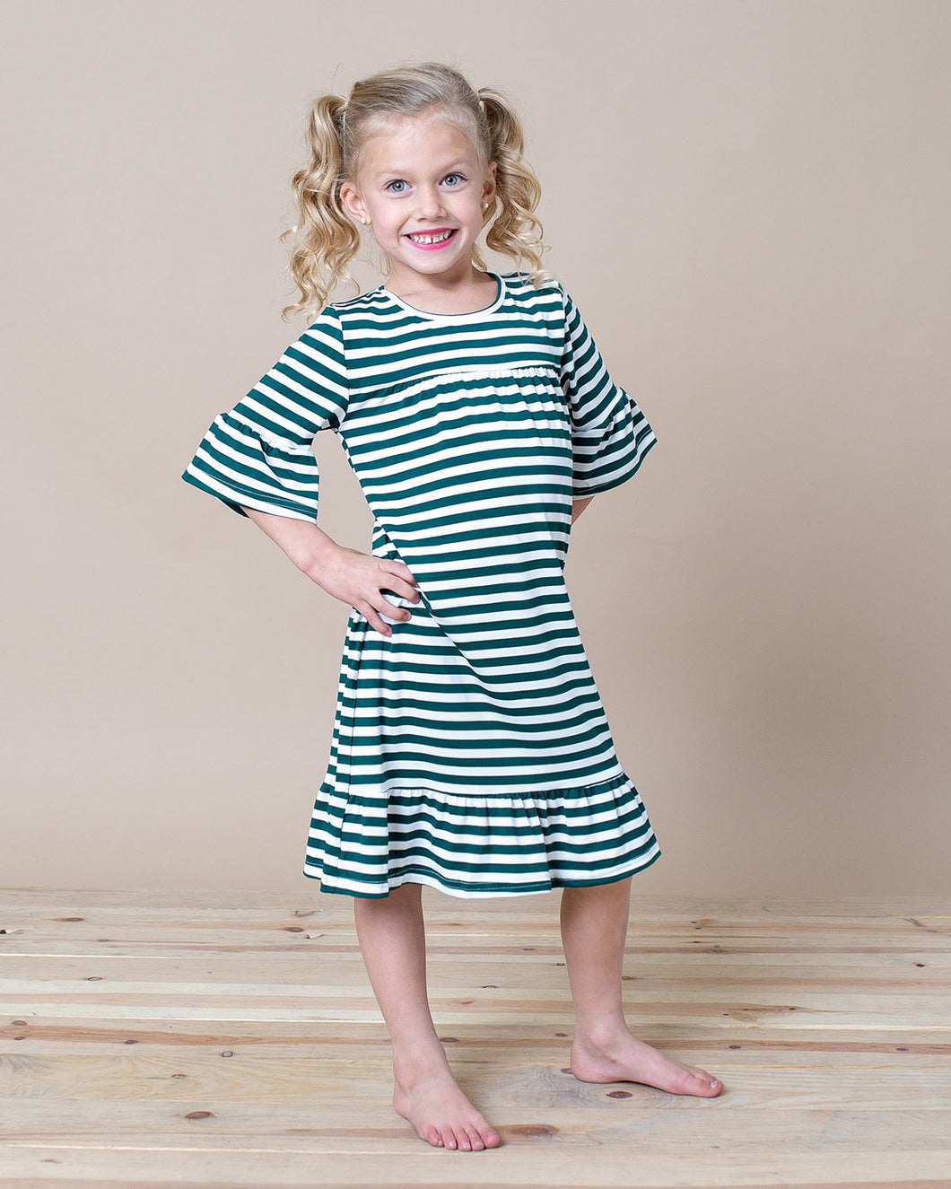 LITTLE LATES DRESS Green Stripes