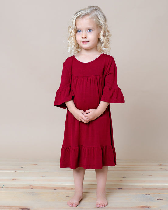 LITTLE LATES DRESS Wine