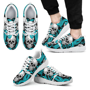 Octopus Tentacles Skull Pattern Print Men's Athletic Shoes