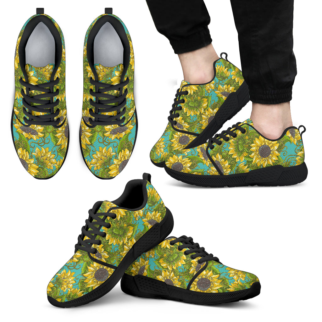 Blooming Sunflower Pattern Print Men's Athletic Shoes