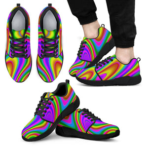 Abstract Neon Trippy Print Men's Athletic Shoes