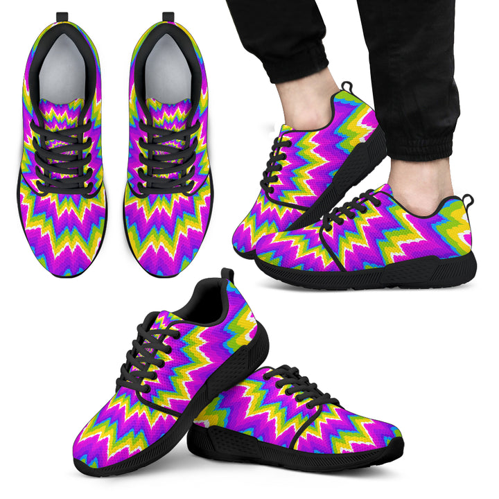 Abstract Spiral Moving Optical Illusion Men's Athletic Shoes