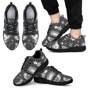 Black White Galaxy Outer Space Print Men's Athletic Shoes