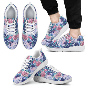 Blue Fairy Rose Unicorn Pattern Print Men's Athletic Shoes