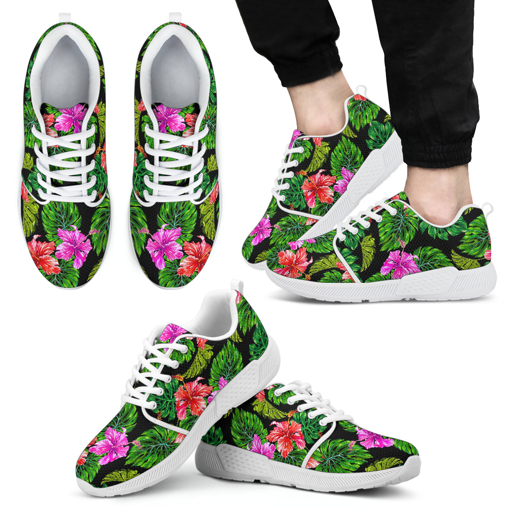 Monstera Hibiscus Hawaii Pattern Print Men's Athletic Shoes
