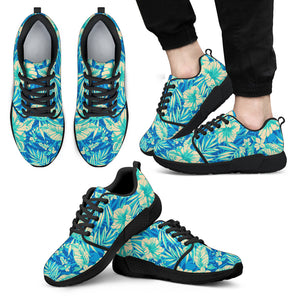 Blue Blossom Tropical Pattern Print Men's Athletic Shoes