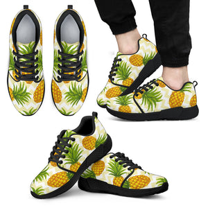 Beige Zig Zag Pineapple Pattern Print Men's Athletic Shoes