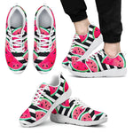 Black Striped Watermelon Pattern Print Men's Athletic Shoes