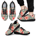 Exotic Tropical Hibiscus Pattern Print Men's Athletic Shoes